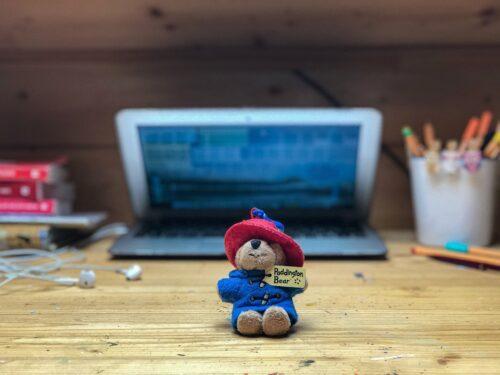 teddy bear and computer